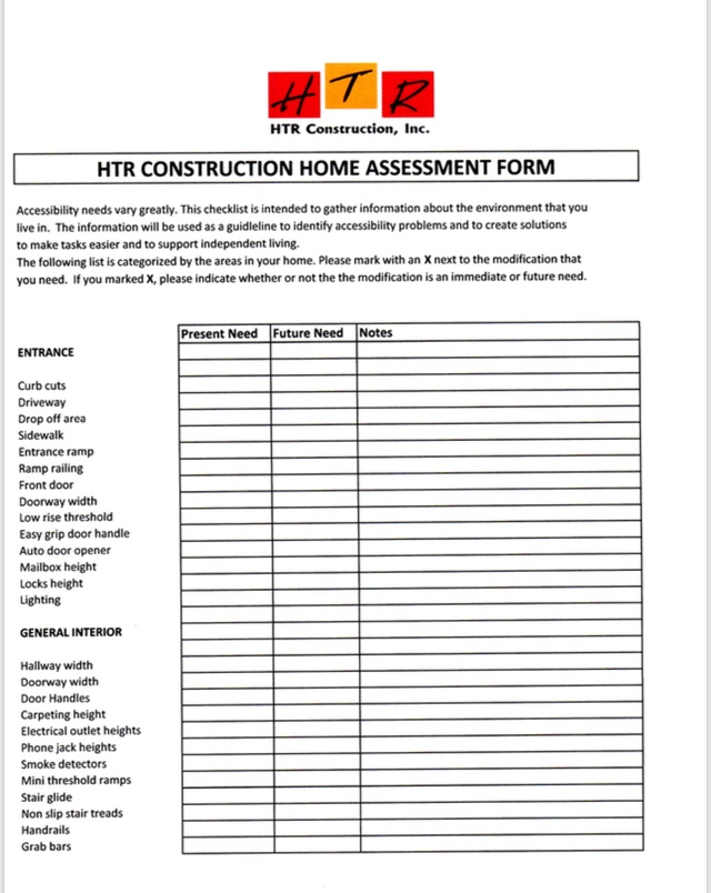 Aging-In-Place Home Assessment Form